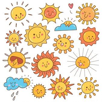 Doodle de sol kawaii, elemento de diseño de sol de verano