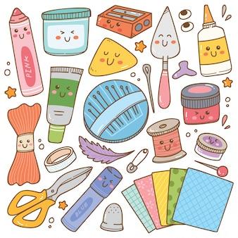 Doodle de suministros de arte y artesanía, conjunto de herramientas de bricolaje