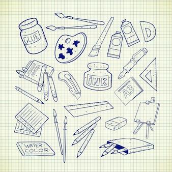 Doodle de suministros de arte