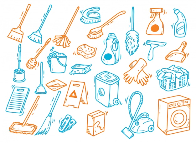 Doodle de suministros de limpieza aislado sobre fondo blanco
