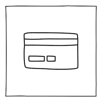 Doodle tarjeta de crédito o logotipo, dibujado a mano con una delgada línea negra. aislado sobre fondo blanco. ilustración vectorial
