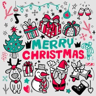 Doodle tarjeta de felicitación de feliz navidad, garabatos de contorno de navidad a mano alzada