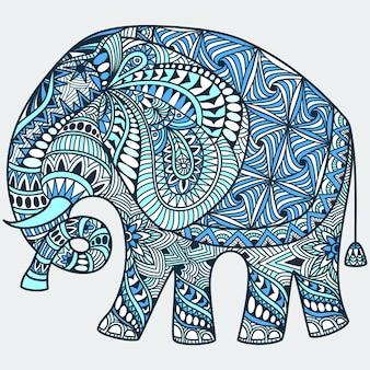 Doodle de tatuaje azul dibujado a mano de vector con elefante indio decorado