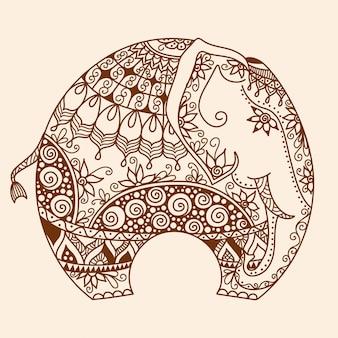 Doodle de tatuaje de henna mehndi dibujado a mano de vector con elefante indio decorado