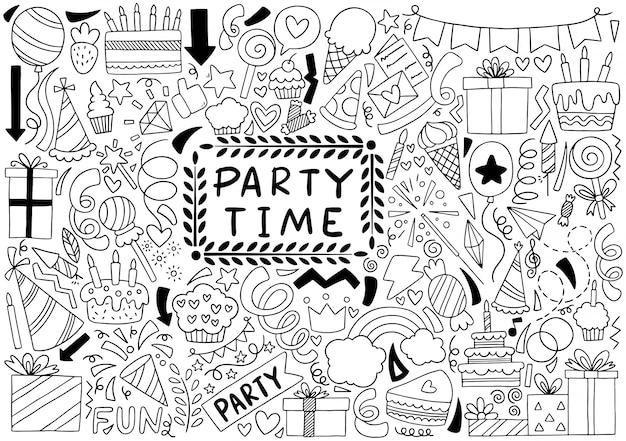 Doodle de tiempo de fiesta