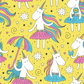 Doodle unicornio de patrones sin fisuras