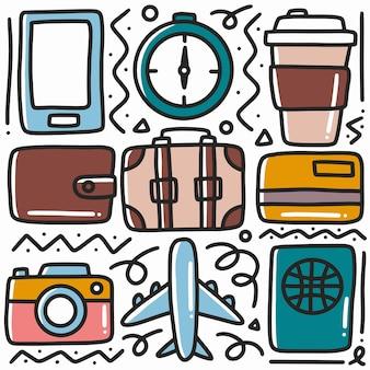 Doodle de vacaciones dibujado a mano con iconos y elementos de diseño