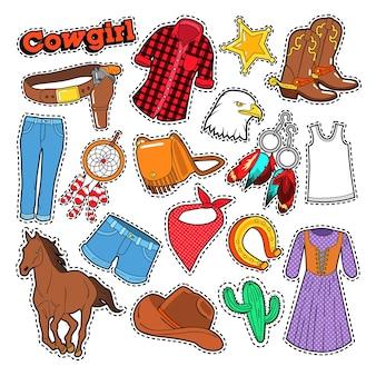 Doodle de vaquera para álbum de recortes, pegatinas, parches, insignias con caballo y espuelas.