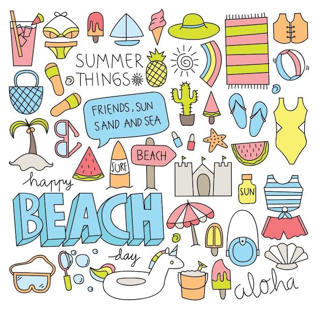 Doodle de verano conjunto ilustración vectorial
