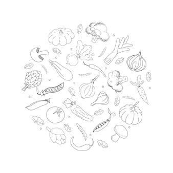 Doodle verduras de contorno en círculo negro verduras dibujadas a mano sobre fondo blanco.