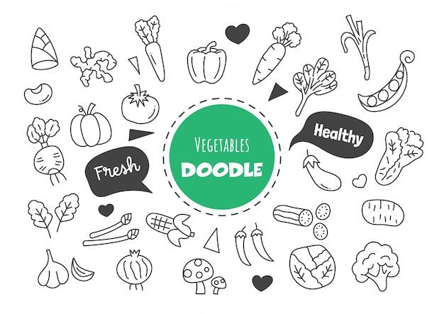 Doodle de verduras kawaii