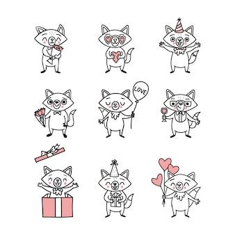 Doodle zorros graciosos. personajes de dibujos animados felices para las vacaciones.