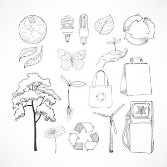 Doodles ecología y medio ambiente conjunto de elementos doodle
