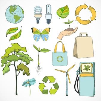 Doodles ecología y el medio ambiente conjunto de iconos