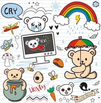 Doodles oso y elementos