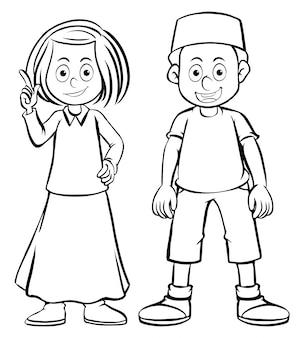 Doodles personaje niña y niño