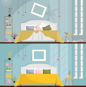 Dormitorio antes y después de la limpieza. habitación sucia interior con muebles y artículos dispersos. interior de dormitorio con cama, mesitas de noche, armario y grandes ventanales. ilustración de vector de estilo plano de dibujos animados.