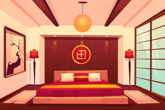Dormitorio asiático, chino, japonés, habitación oriental