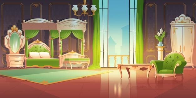 Dormitorio barroco de lujo con puertas abiertas al balcón