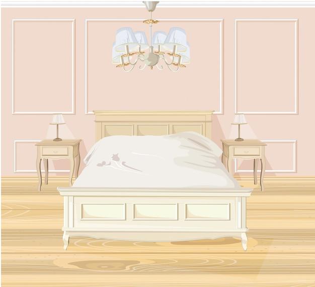 Dormitorio clásico de acuarela.