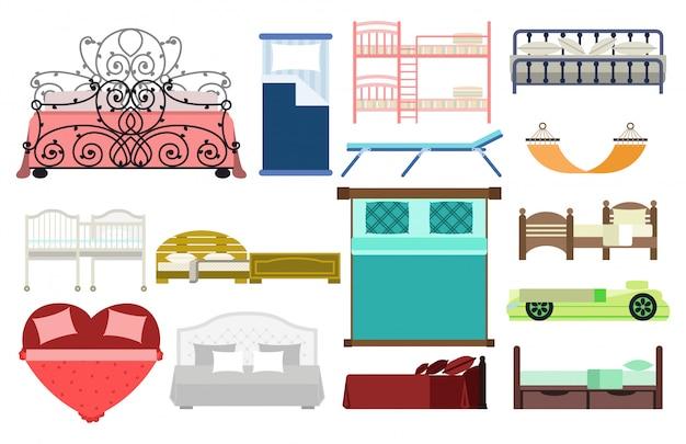 Dormitorio exclusivo de diseño de muebles para dormir con cama de vista aérea y sala interior cómoda casa relajación apartamento decoración vector ilustración.
