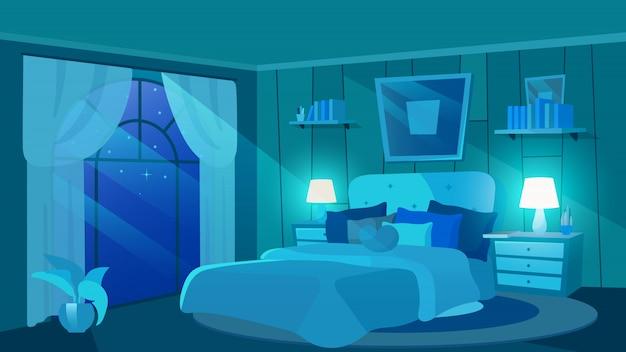 Dormitorio femenino en la noche ilustración plana. interior de finca de lujo con muebles modernos. cama de dibujos animados con cojines, almohada en forma de corazón, imagen moderna arriba. mesitas de noche con lámparas, plantas.