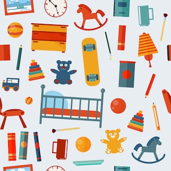 Dormitorio infantil de patrones sin fisuras con juguetes