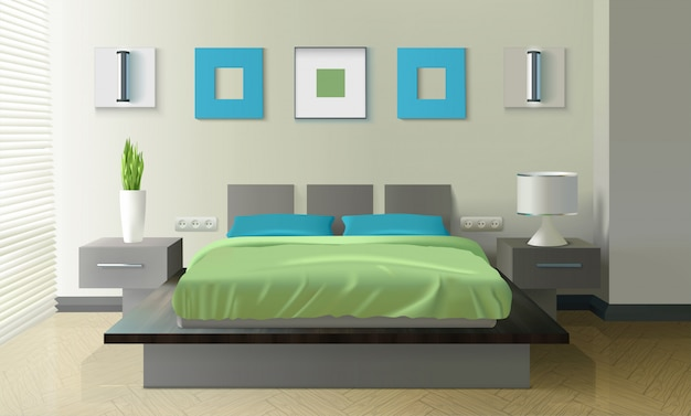 Dormitorio moderno diseño realista