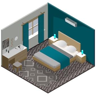 Dormitorio moderno isométrico con muebles detallados.