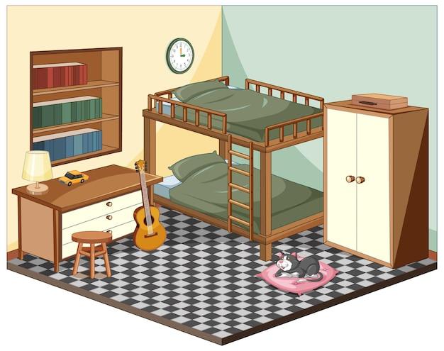 Dormitorio con muebles isométricos.