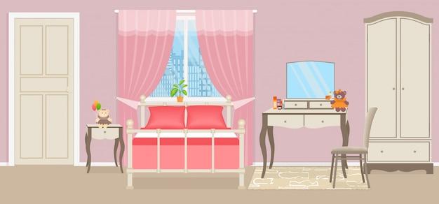 Dormitorio de niña bebé. habitación interior con muebles.