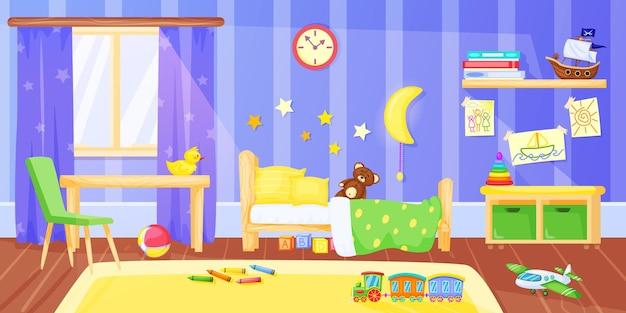 Dormitorio para niños interior de dormitorio infantil preescolar de dibujos animados con muebles y juguetes ilustración