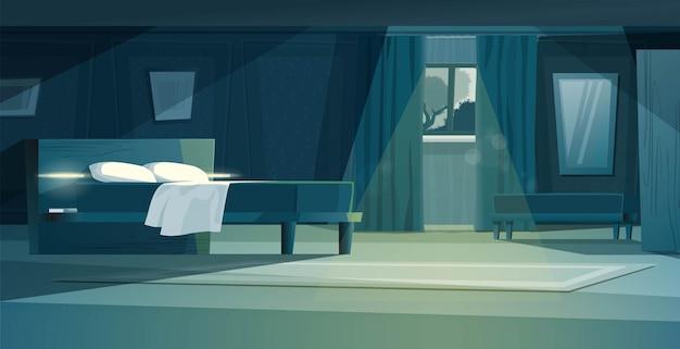 Dormitorio de noche moderna con ilustración de dibujos animados de muebles. cama doble con armarios, ventana con cortina, cómoda, alfombra, espejo.
