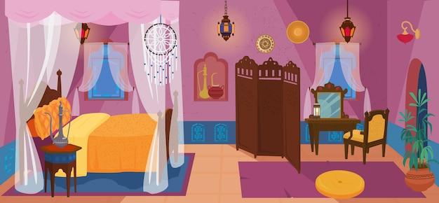 Dormitorio tradicional de oriente medio con muebles y elementos de decoración.