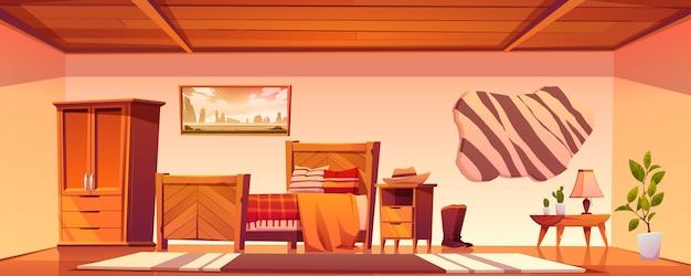 Dormitorio vaquero en casa rural en el salvaje oeste