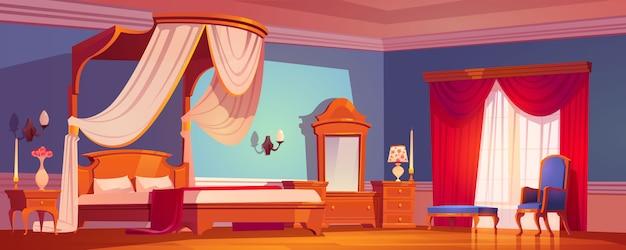 Dormitorio victoriano, interior real en la mañana.