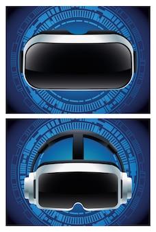 Dos accesorios de máscaras de realidad virtual con fondo azul.