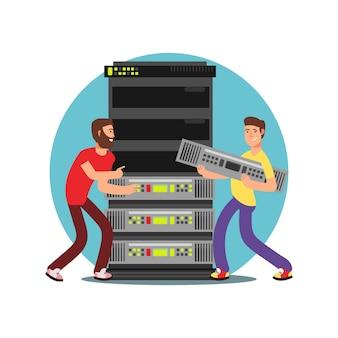 Dos administradores de servidores masculinos que trabajan con la base de datos. ilustración de vector plano de ti