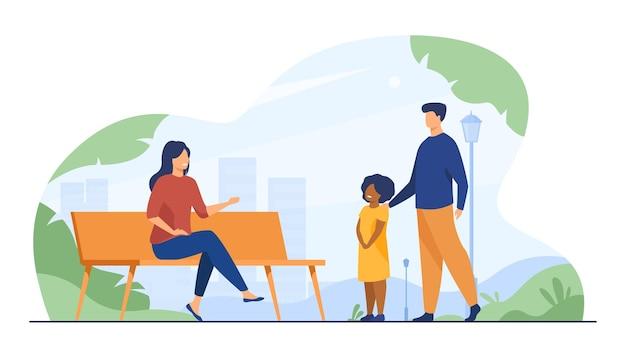 Dos adultos hablando con una niña en el parque de la ciudad. banco, niño, ilustración plana de fin de semana. ilustración de dibujos animados