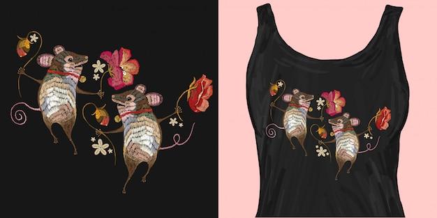 Dos alegres ratones bailan en flores con bordado clásico