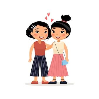 Dos amigos asiáticos jovenes de las mujeres o el abrazo lesbiano de la pareja. personaje de dibujos animados divertido.