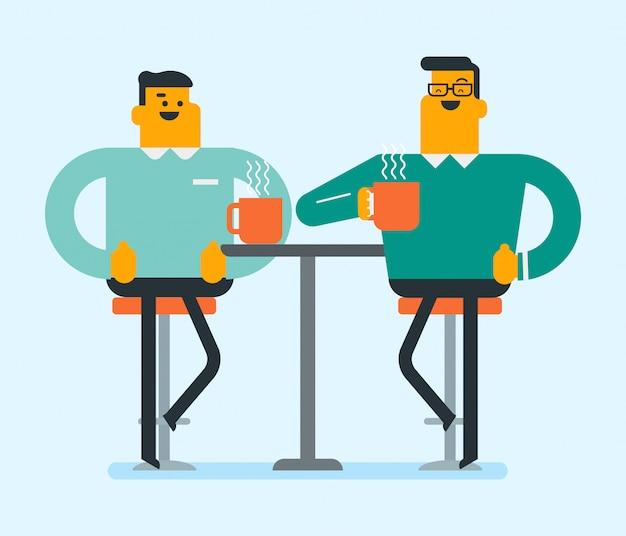 Dos amigos blancos caucásicos tomando café.