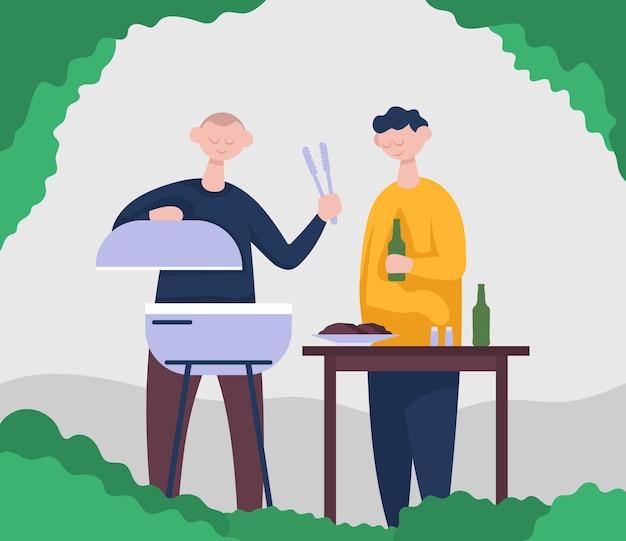 Dos amigos cocinan barbacoa y beben cerveza de botella. ilustración de color de vector de dibujos animados plana.