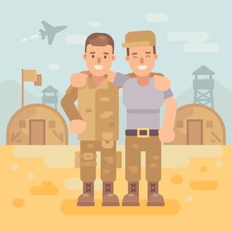 Dos amigos felices del soldado en una ilustración plana del campo militar. fondo de la escena del ejército