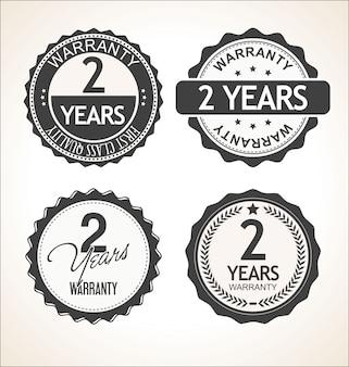 Dos años de garantía retro vintage insignia y colección de etiquetas.