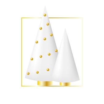 Dos árboles de navidad con bolas doradas.