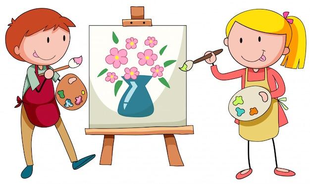 Dos artistas pintando sobre lienzo