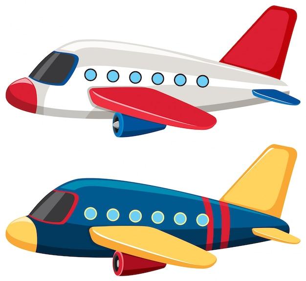 Dos aviones con colores azules y blancos