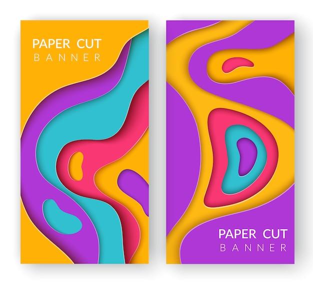 Dos banderas abstractas verticales con formas de corte de papel de varios colores.