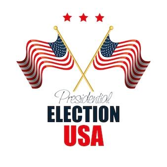Dos banderas ondeando elección de estados unidos